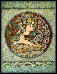 Mucha-Ivy-Fashion-Lady-Art-Nouveau-Vintage-Poster-Repro-FREE-SHIPPING