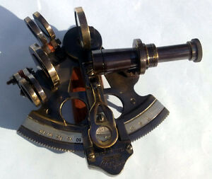 ANTIQUE BRASS MARINE SEXTANT NAUTICAL REPRODUCTION SEXTANT 3""