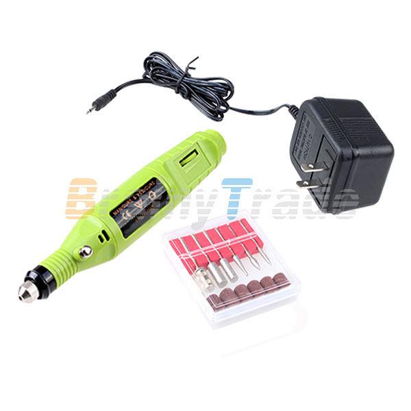 Electric Pen-shape Nail Drill Art Manicure File Tool 6 BIT Acrylic UV Gel Green