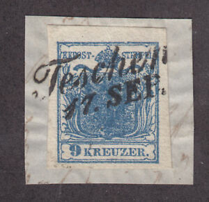 Austria-Sc-5-on-piece-with-TESCHEN-cancel-HUBER-cert