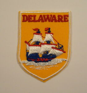 Vintage DELAWARE TALL SAILING SHIP State Souvenir PATCH