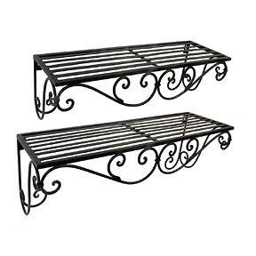 glamorous wrought iron kitchen wall shelves | Tuscan Scrolling Wrought Iron Metal Wall Shelf Set of 2 ...