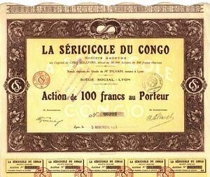 AFRIKA: La Séricicole du CONGO, Aktie, 100 Francs, 1927 - SEIDENRAUPENZUCHT ! - <span itemprop='availableAtOrFrom'>Völklingen, Deutschland</span> - AFRIKA: La Séricicole du CONGO, Aktie, 100 Francs, 1927 - SEIDENRAUPENZUCHT ! - Völklingen, Deutschland