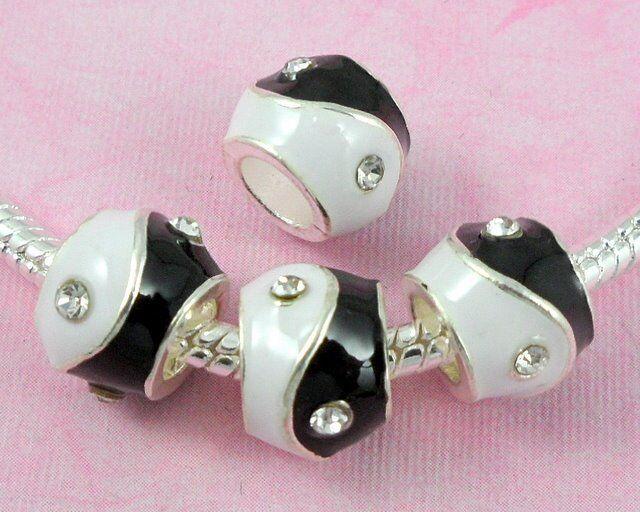 20pcs White Black YING YANG Charm Beads Inlay Crystal Fit Bracelet H14