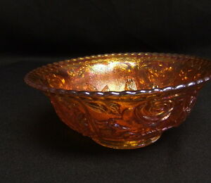 Vintage-Imperial-Open-Rose-Carnival-Glass-Footed-7-Bowl-Amber-Marigold