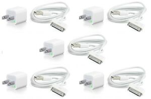 5X-USB-USA-AC-Power-Adapter-Wall-Charger-Plug-SYNC-Cable-iPod-iPhone-3GS-4-4S