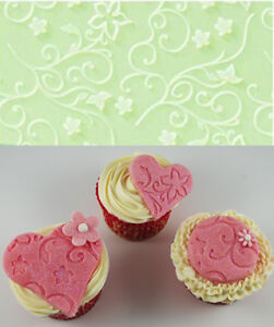 Small-Embossing-Mat-flowers-swirls-Cake-Decorating-Cupcake-Toppers