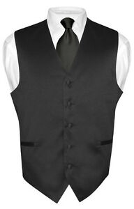 Men-039-s-BLACK-Tie-Dress-Vest-and-NeckTie-Set-for-Suit-or-Tuxedo