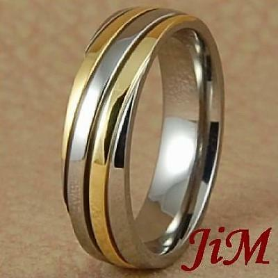 6MM Titanium Ring 14K Gold Accent Wedding Band Mens Bridal Jewelry Size 6-13