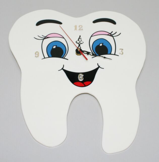 Dental Dentistry Orthodontist Hygienist Wall Tooth Molar Smile Face Clock