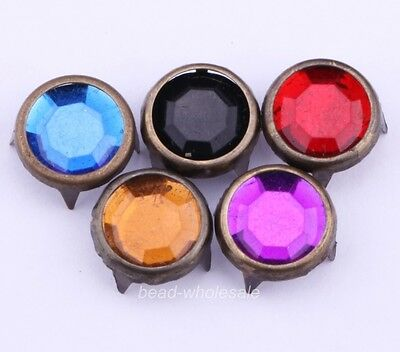 200pcs Random color Antique bronze Edge Round Rhinestone Stud Rivet Jewelry DIY
