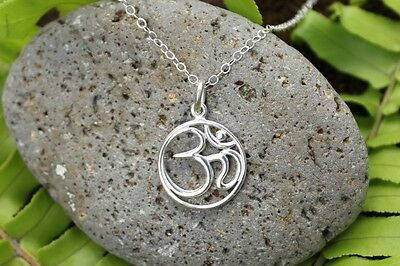 Aum necklace - sterling silver Buddhist OM charm on sterling silver chain- Yoga
