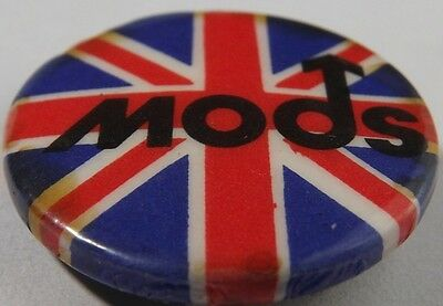 """MODS Union Jack Vtg Early1980`s Button Badge/Pin(Scooter Who) 25mm-1""""#mod.105"""