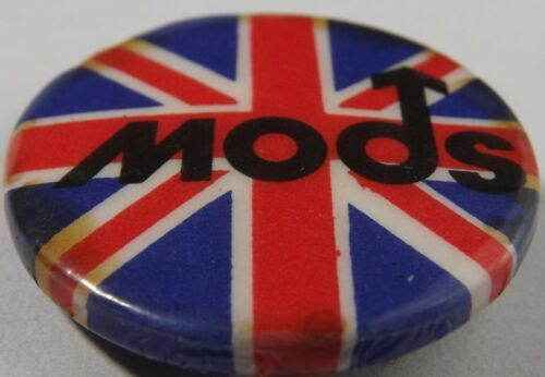 "MODS Union Jack Vtg Early1980`s Button Badge/Pin(Scooter Who) 25mm-1""#mod.105"