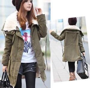 J93-Ladies-Warm-Long-Parka-Zip-Up-Fleece-Inner-Winter-Coat-Jacket-Outerwear-SZ-M