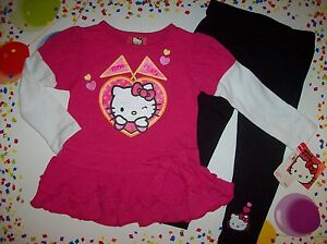 Hello-Kitty-Dress-Top-Legging-Outfit-2pc-Set-Toddler-Girls-Sz-Select-2T-3T-NWT