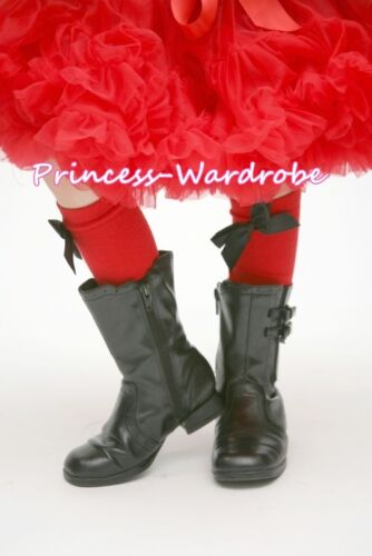 Baby Girl RED Petti Long Sock Stocking with Optional Bow For Pettiskirt 2-6Year
