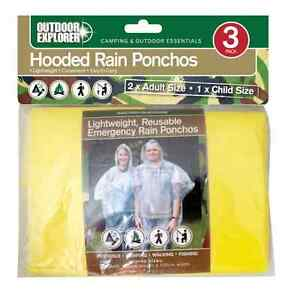 3-Pack-Lightweight-Hooded-Waterproof-Poncho-Ponchos-2-Adults-1-Child-Free-P-amp-P