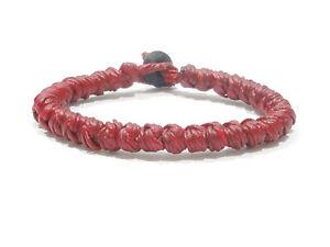 Fair-Trade-Red-Wax-Cotton-Thai-Buddhist-Men-039-s-Wristband-Handmade-Bracelet