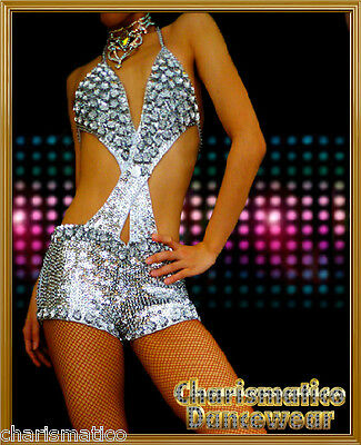CHARISMTICO CUSTOM SILVER SEXY SALSA VEGAS EXOTIC STAGE dance HOT PANTS SHORTS