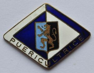 Europe-Belgium-Hot-Enamel-Heavy-Brass-Badge-PUERICULTRICE