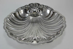 Vint-Ornate-Silver-Plate-Snail-Footed-Shell-Shaped-Bon-Bon-Candy-Nut-Dish-Bowl