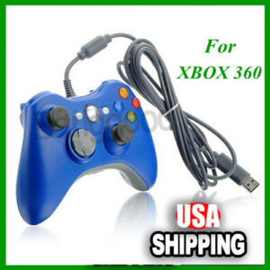 New-Blue-Wired-USB-Game-Pad-Controller-For-MICROSOFT-Xbox-360-amp-Slim-PC-Windows-7