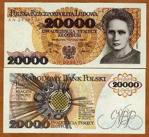 Poland-20000-20-000-Zlotych-1989-P-152-UNC-Maria-Curie