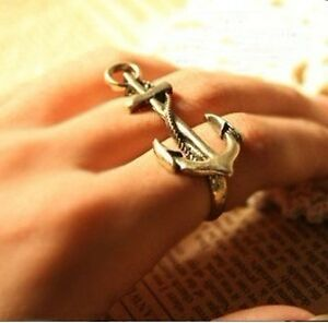 European-Retro-Unique-Navy-Wind-Anchor-Two-Double-Finger-Ring-Free-shipping