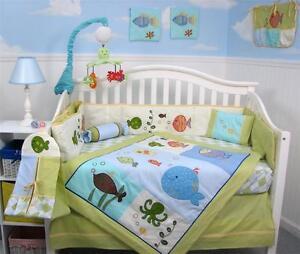 Gold fish aquarium baby crib nursery bedding 13 pcs set for Fishing nursery bedding