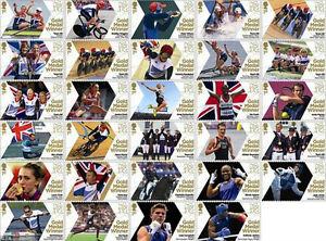 2012 Olympics. Complete set x 29 Gold Winner Stamps. FREEPOST!