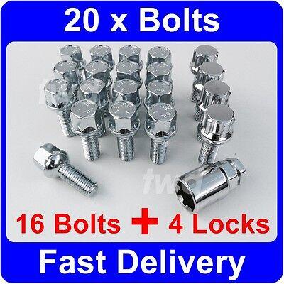 20 x ALLOY WHEEL BOLTS & LOCKS - MERCEDES BENZ SL / SLC (1971-89) R107/C107 [L9]