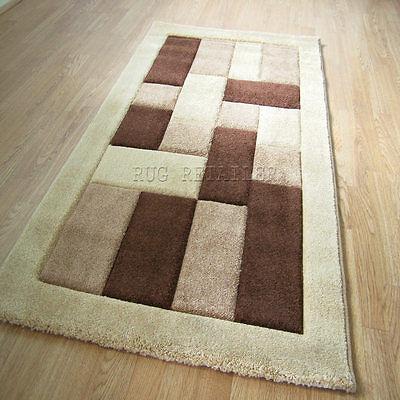 Select Panels Chocolate Brown & Beige Quality Modern Wilton Rugs / Rug 160x230cm