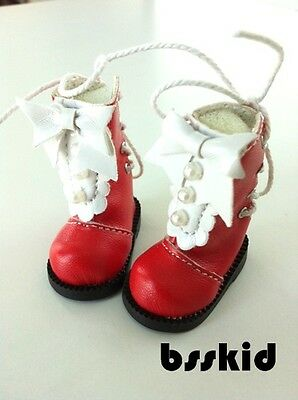 NEW Arrival Blythe Pullip 12 inch Doll Shoes RED Lolita Ribbon Pearl Boots