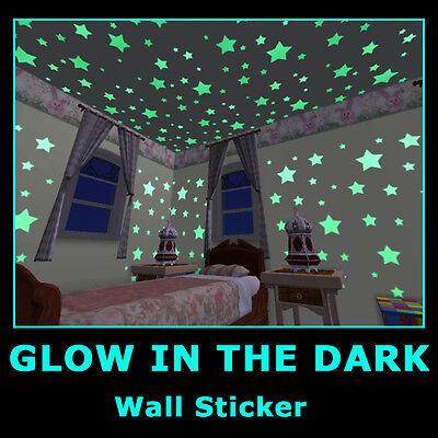 Baby Room Glow in Dark Children Bedroom Deco Wall Stickers Decals Star Moon 2PCS