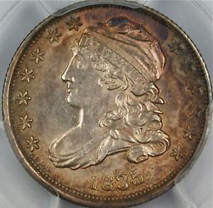 1835-Capped-Bust-Silver-Dime-PCGS-AU-58-JR-9-Choice-Uncirculated