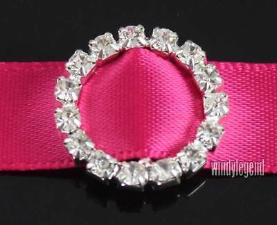 10 Pc Charming Round Rhinestone Buckle Invitation Ribbon Slider Wedding Supplies
