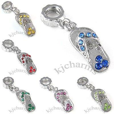 Sandal Flip-Flop Shoe Silver CZ Dangle European Charm Bead For Bracelet Necklace