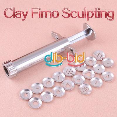 Polymer Clay Fimo Extruder Craft Gun Sculpey Sculpting Sugarcraft 19 Discs SS