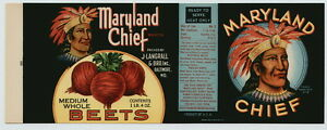 MARYLAND CHIEF Vintage Beets, Baltimore MD, AN ORIGINAL 1920's **TIN CAN LABEL**