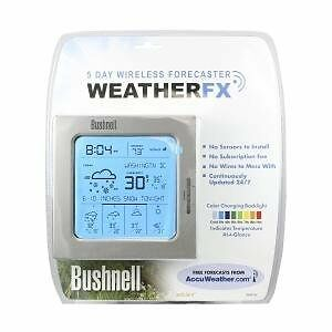 BUSHNELL-5-DAY-WIRELESS-WEATHER-FX-FORECASTER-COLOR-CODED-TEMPERATURE-BACKLIGHT