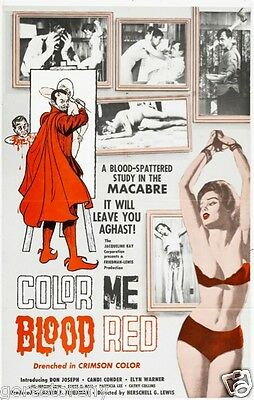 COLOR ME BLOOD RED Movie Poster Horror Gore HG Lewis