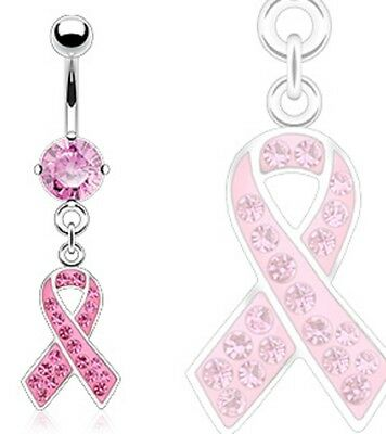 316L Surgical Steel Breast Cancer Awareness Ribbon Dangle Navel Belly Ring