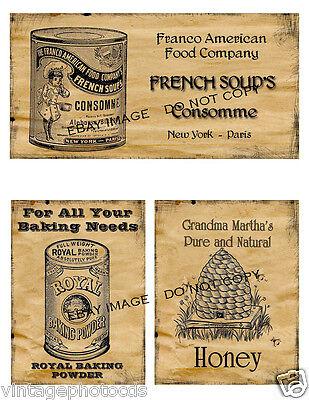 Primitive Jar Box Pantry Labels FH378:  Consomme, Royal Baking Powder, Honey