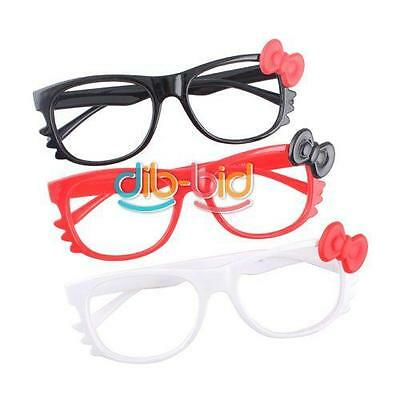 Cute Fashion Bow Cat Frame Eye Plastic Glasses For Womens Girl