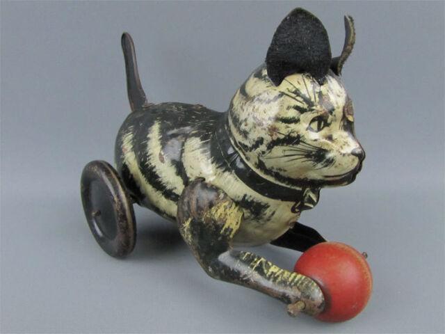 Vintage Marx Mechanical Tin Litho Kitty Kat 1930s