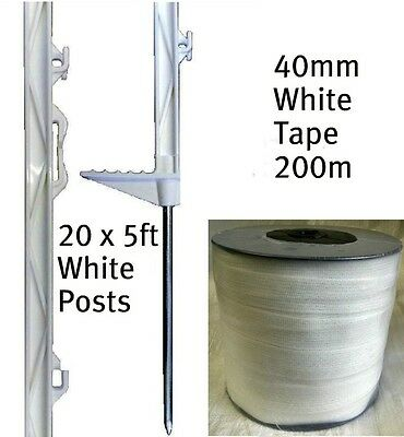 20 X WHITE 5FT POSTS & 40MM POLY TAPE Electric Fence Fencing Horse Paddock