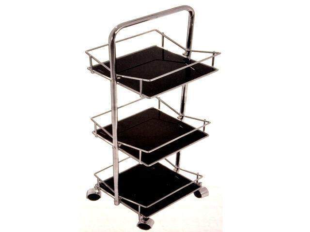 NEW STUNNING FIESTA 3 TIER K/D BLACK GLASS CHROME SQUARE TROLLEY STAND SHELVES