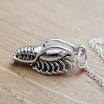 Shrimp Necklace - 925 Sterling Silver - Shrimp Charm *NEW* Nautical Seafood Food
