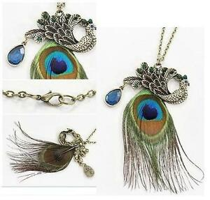 Vintage-Retro-Art-Deco-Style-Blue-Eyes-Peacock-Long-Feather-Necklace-Gift